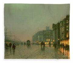 Liverpool Docks From Wapping Fleece Blanket