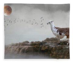 Llama Singing To The Moon Fleece Blanket