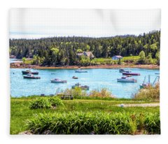 Lobster Boats  Fleece Blanket