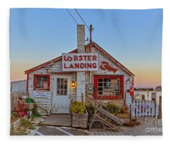 Fleece Blanket featuring the photograph Lobster Landing Sunset by Edward Fielding