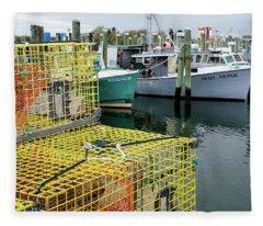 Fleece Blanket featuring the photograph Lobster Traps In Galilee by Nancy De Flon