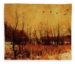 Loch Raven Reservoir Treeline Fleece Blanket