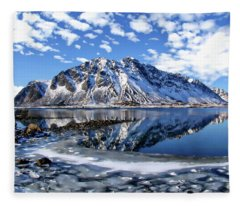 Lofoten Winter Scene Fleece Blanket