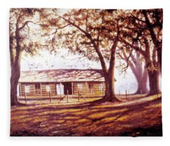 Log House On 421 Fleece Blanket