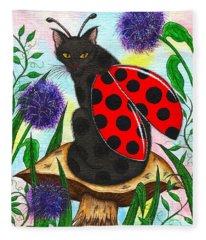 Logan Ladybug Fairy Cat Fleece Blanket