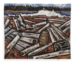 Logjam Backwaters Up Millinocket Way No. 3 By Marsden Hartley Fleece Blanket