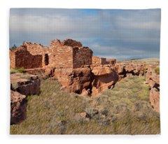 Lomaki Pueblo Ruins Fleece Blanket