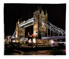 London Bridge At Night Fleece Blanket