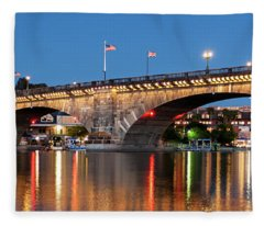 London Bridge Twilight Panorama Fleece Blanket