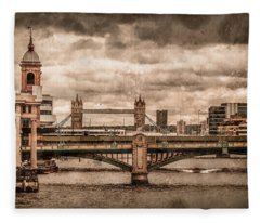 London, England - London Bridges Fleece Blanket