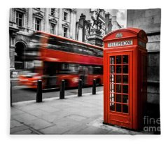 London Bus And Telephone Box In Red Fleece Blanket