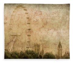 London, England - London Eye Fleece Blanket