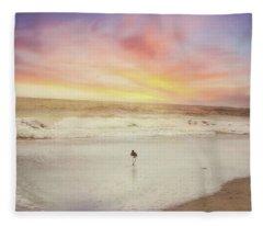 Lone Bird At Sunset Fleece Blanket
