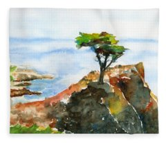 Lone Cypress Pebble Beach Fog Fleece Blanket