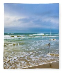 Lone Fishing Pole Fleece Blanket