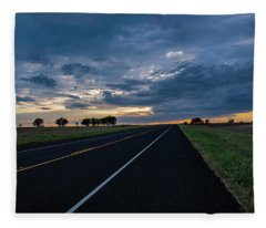 Lone Highway At Sunset Fleece Blanket