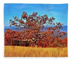 Lone Mountain Tree Fleece Blanket