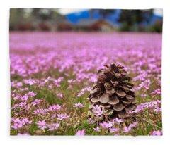 Pinecone In Pink Fleece Blanket