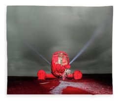 Fleece Blanket featuring the photograph Lone Plane In The Middle Of Nowhere At Night, Iceland by Pradeep Raja PRINTS