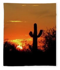 Lone Saguaro Sunrise Fleece Blanket