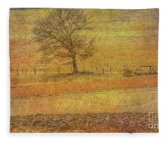Lone Tree In Farm Field Winter Fleece Blanket