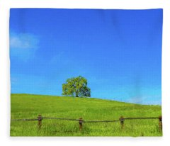 Lone Tree On A Hill Digital Art Fleece Blanket