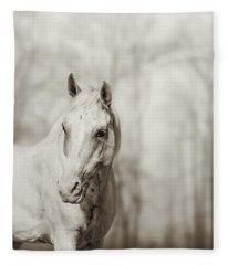 Lone White Wild Horse Fleece Blanket