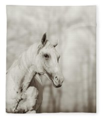 Lone White Wild Horse II Fleece Blanket
