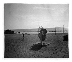 Lonely Man In Ostia Beach Fleece Blanket