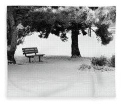 Lonely Park Bench Fleece Blanket