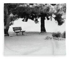 Lonely Park Bench Fleece Blanket