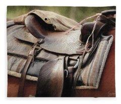 Lonely Saddle  Fleece Blanket