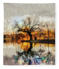 Lonely Tree And Its Thoughts Fleece Blanket