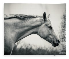Lonely White Horse Against The Wind Fleece Blanket