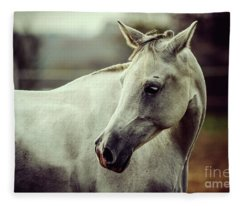 Lonely White Horse Fleece Blanket