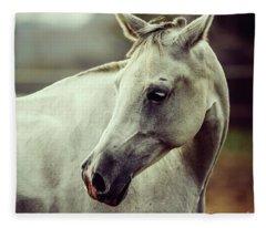 White Horse Close Up Vintage Colors Portrait Fleece Blanket