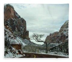 Lonesome Snowy Winter In Zion Fleece Blanket