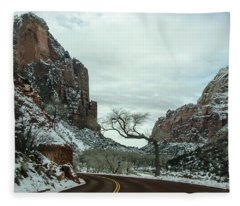 Lonesome Snowy Winter In Zion Fleece Blanket