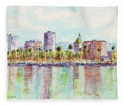 Long Beach Coastline Reflections Fleece Blanket