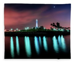 Long Beach-lighthouse Fleece Blanket