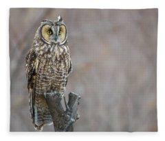 Long Eared Owl Fleece Blanket