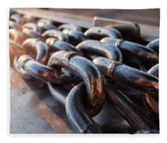 Long Metal Chains On A Boat Dock Near The Water In Green Bay Wisconsin Fleece Blanket