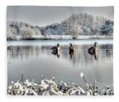 Geese At Long Run Pond Fleece Blanket