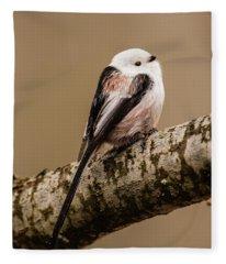 Long-tailed Tit On The Oak Branch Fleece Blanket
