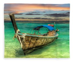 Longboat Sunset Fleece Blanket