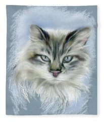 Longhaired Cat With Blue Eyes Fleece Blanket