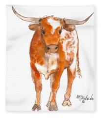 Texas Red Longhorn Watercolor Painting By Kmcelwaine Fleece Blanket
