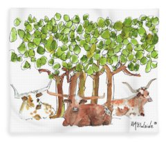 Longhorns In The Shade Lh015 By Kmcelwaine Fleece Blanket