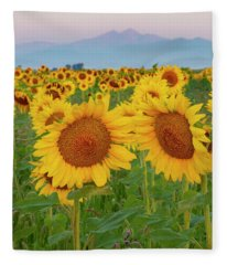 Longs Peak And Sunflowers Fleece Blanket