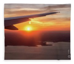 Looking At Sunset From Airplane Window With Lake In The Backgrou Fleece Blanket